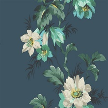 Turquoise & Green Commercial Flower Stripe Wallpaper