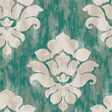 Turquoise & Grey Commercial Damask Wallpaper