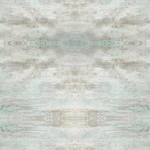 Turquoise & Grey Serene Jewel Wallpaper