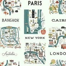 Turquoise Illustrated City Maps Rifle Paper Wallpaper