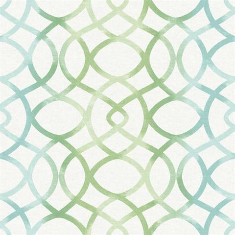 2697 78032 Twister Aquamarine Trellis Wallpaper