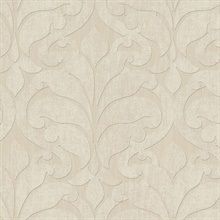 Vallon Beige Damask Wallpaper