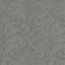 Vallon Grey Damask Wallpaper
