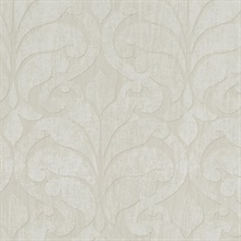 Vallon Khaki Damask Wallpaper