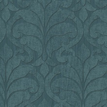 Vallon Teal Damask Wallpaper