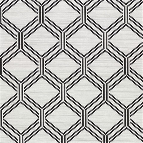 Vaughan Grey Geometric Vinyl Wallpaper