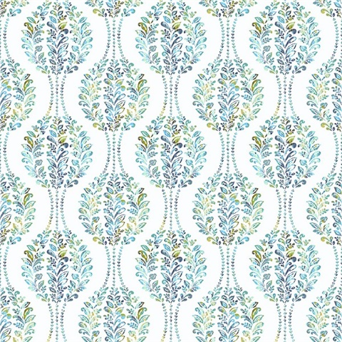 Versailles Teal Floral Damask Wallpaper