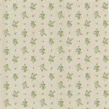 Victoria Light Blue Rosebud Linen Wallpaper