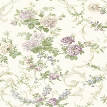 Villa Purple Floral Tapestry Wallpaper