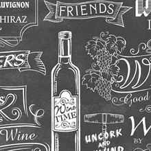 Vintage Black & White Wine Sayings Wallpaper
