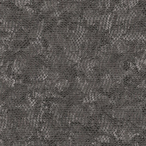 Viper Black & Grey Faux Textured Snakeskin Wallpaper