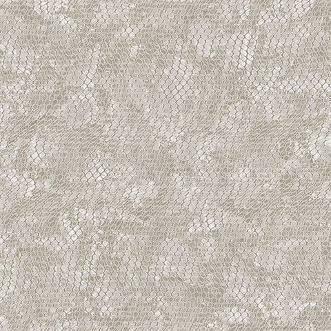Viper Taupe Faux Textured Snakeskin Wallpaper