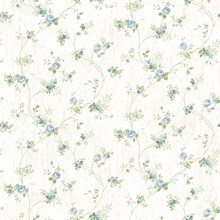 Virginia Blue Floral Vine Wallpaper