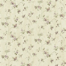 Virginia Grey Floral Vine Wallpaper