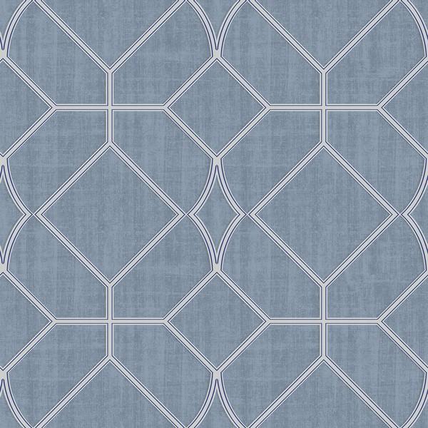 3114 003304 Washington Square Blue Trellis Wallpaper