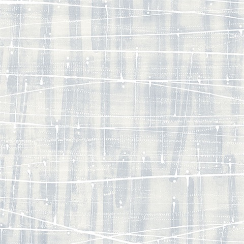 Watercolor Abstract Lined Splatter Blue, Grey & White Wallpaper