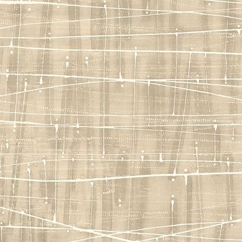 Watercolor Abstract Lined Splatter Brown Wallpaper