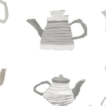 Watercolor Beige & Grey Teapots Wallpaper