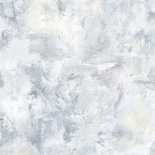 Watercolor Brush Strokes Blue, Grey & White Wallpaper