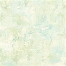 Watercolor Brush Strokes Turquoise & Green Wallpaper