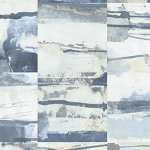 Watercolor Collage Strips Blue Wallpaper