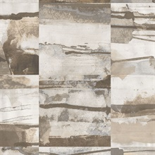Watercolor Collage Strips Brown & Grey Wallpaper