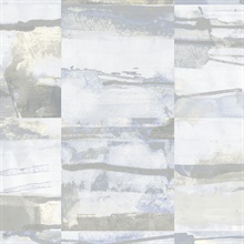 Watercolor Collage Strips Grey & Pale Blue Wallpaper
