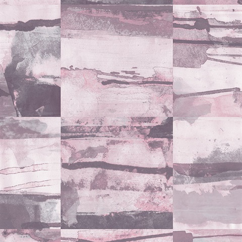 Watercolor Collage Strips Pink & Grey Wallpaper