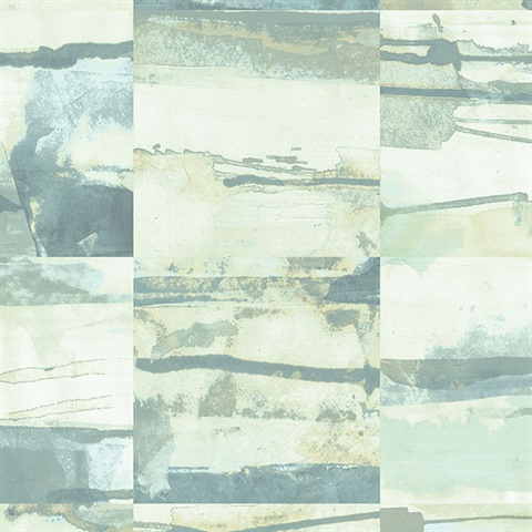 Watercolor Collage Strips Turquoise & Green Wallpaper