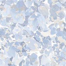 Watercolor Floral Blue & Grey Wallpaper