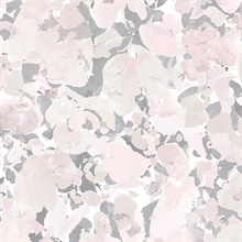 Watercolor Floral Pink & Grey Wallpaper