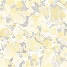 Watercolor Floral Yellow & Grey Wallpaper