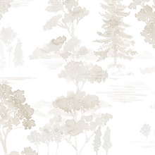 Watercolor Forest Beige Neutral Wallpaper