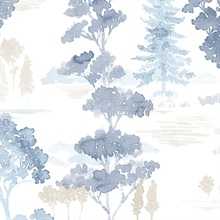 Watercolor Forest Blue & Beige Wallpaper