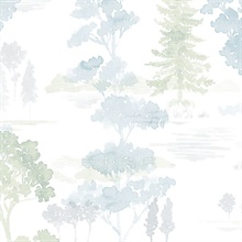 Watercolor Forest Blue & Green Wallpaper