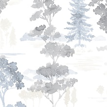 Watercolor Forest Blue, Grey & Beige Wallpaper