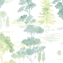 Watercolor Forest Green Neutral Wallpaper