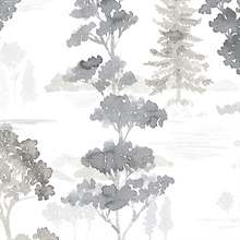 Watercolor Forest Grey Wallpaper