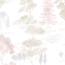 Watercolor Forest Pink & Grey Wallpaper