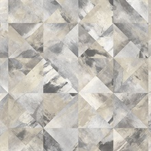 Watercolor Prisms Black, Grey & Beige Wallpaper