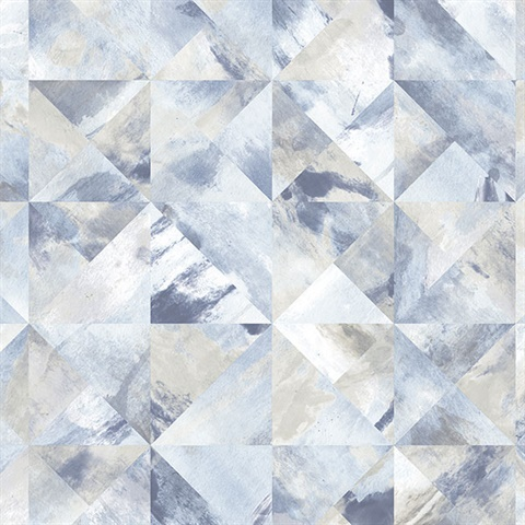 Watercolor Prisms Blue, Grey & White Wallpaper