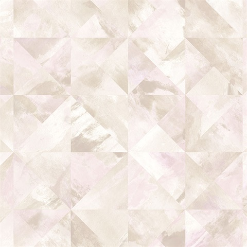 Watercolor Prisms Pale Pink & Beige Wallpaper