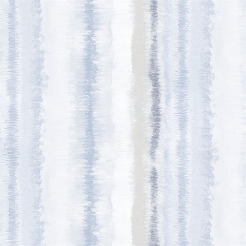 Watercolor Vertical Stripes Blue & Grey Wallpaper