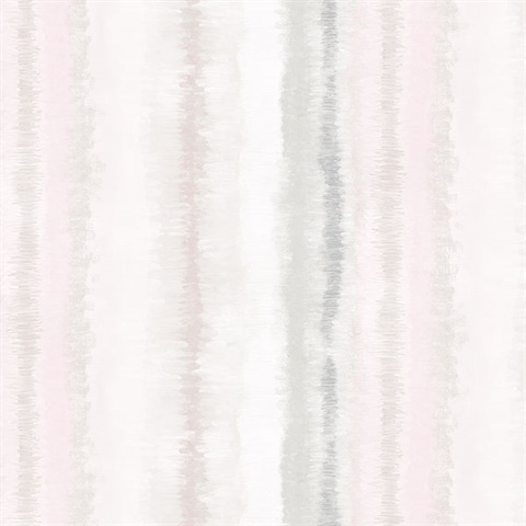 Watercolor Vertical Stripes Pink & Grey Wallpaper