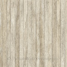 Weathered Beadboard Brown Textured Wallpaper
