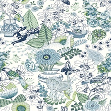 Whimsy Blue Fauna Wallpaper