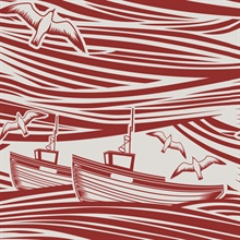 Whitby - Awning Red colourway wallpaper
