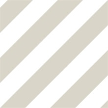 White and Taupe Diagonal Stripe Prepasted Wallpaper