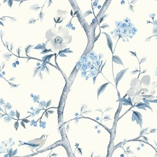 White & Baby Blue Southport Bird On Branches Floral Trail Wallpaper