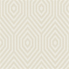 White & Beige Commercial Hexagon Geometric Wallpaper